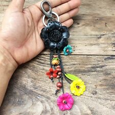 New Black Flower Genuine Leather Handmade Keychain KeyRing Charm Purse Floral