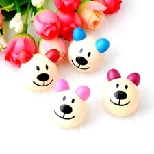 Pack of 5 Large Wooden Bear Beads. Random Colours Sent! 27mm x 28mm. 5mm hole.