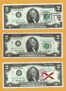Three First Day Issue 1976 $2 New York Federal Reserve Notes - Stamped! #231