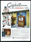 1950 circus clown photo Capehart TV Television set vintage print ad photo