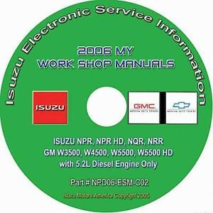 2006 Isuzu NPR HD NQR NRR GMC Chevy W3500-5500 Truck w/5.2L Diesel Repair Manual