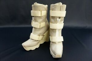 Authentic LOUIS VUITTON Women's boots Ivory Gray Mouton leather Size 38 #6311A