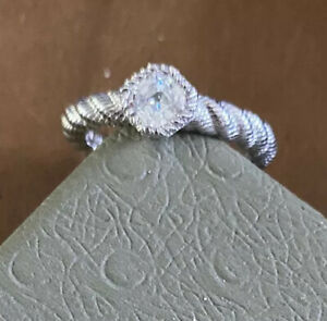 NWT Judith Ripka Sterling Silver Rope CZ Ring Size 8