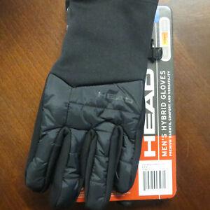 HEAD Men's Hybrid Touchscreen Running Gloves Size Large + SENSATEC ~ Black ~