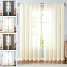 Sheer Curtains Voile Windows Drapes for Living Room Bedroom Rod Pocket 2 Panel