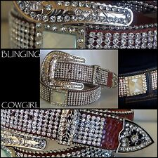 Ladies Western Cowgirl Silver Mesh Belt with Clear Crystal Rhinestone Conchos