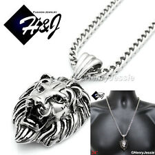 "24""Men's Stainless Steel 4.5mm Silver Franco Box Chain Necklace Lion Pendant*P50"