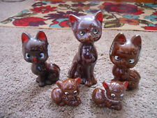 5 OLD,  ASSORTED VINTAGE BROWN GLAZED POTTERY CAT FIGURINES, REALLY ADORABLE