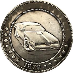 Souvenir Coin Hobo Nickel COIN, 1879-CC USA Morgan SPORT CAR Engreving coin,