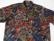 Psychedelic Multi-Color Paisley Long Sleeve Casual Shirt - Mens XL Rayon Party