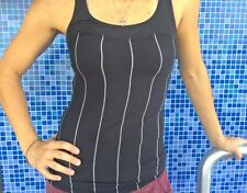 NWT Lululemon Run First Base Tank top Cliffhanger Black Stripe Heathered Slate 6