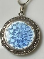 Antique/Vintage Sterling Silver & Blue Guilloche Enamel Locket & Chain