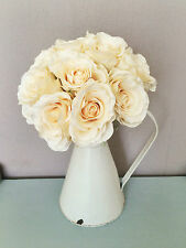 Tied Bouquet of Beautiful Cream Faux Roses. Bunch Artificial Ivory Silk Flowers