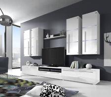 Wohnwand Anbauwand Wohnzimmer Schrankwand Hochglanz Barso LED Weiß Schwarz  07