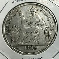1906 FRENCH INDO CHINA SILVER ONE PIASTRE CROWN COIN
