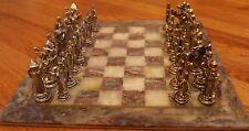 "Metal Crusader vs Muslim Figure & 14"" Handmade Gray/Ivory Marble Board Chess Set"