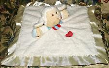 Baby Ganz RUFFLES Lamb security blanket White velour cream satin red heart Lovey