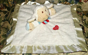 Baby Ganz RUFFLES Lamb security blanket White velour cream satin red heart Lovey
