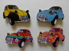 SET OF 4 CLASSIC CITROEN 2CV CAR NEW FRIDGE MAGNETS.BLUE,PINK RAINBOW 60'S ETC.
