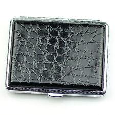 Black Leather Cigarette Case Box Hold For 16 Cigarettes 306B28