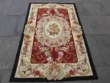 Old Hand Made French Design Wool Black Red Original Aubusson 186X120cm