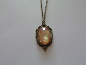 """ACRYLIC  PINK OPAL NECKLACE 20"""" CHAIN ANTIQUE BRONZE"""