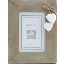 Chic Shabby Natural Wooden Photo Frame Hanging White Hearts 6 x 4 photo