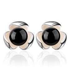 Fashion Jewelry Black Onyx Lucky Trefoil 925 Silver Stud Earrings Female