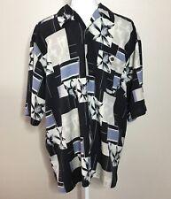 Bobby Chan Men's Silk Shirt Size M Hawaiian Floral Print Resort Lounge