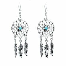 Vintage dream catcher antique silver sunflower and leaf chandelier earrings
