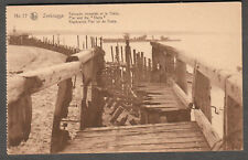 unmailed post card Zeebrugge pier and The Thetis WWI HMS ship