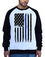 Men's Blue Lives Matter American Flag White Raglan Sweatshirt USA Police B931