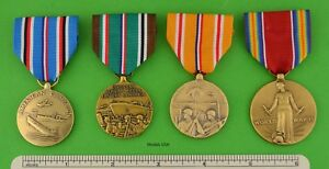 4 full size U.S. WWII Service Medals issue for service during - WW2 - USA MADE