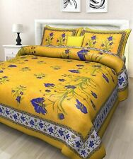 Jaipuri Print 100% Cotton Traditional King Size Double Bedsheet Bedspread
