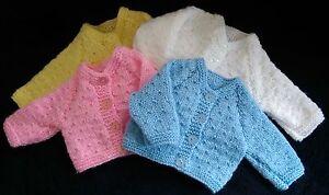 Hand Knitted Premature/Newborn Baby Cardigan