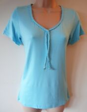 Womens Top Size 12 New Canvas Blue Rope Trim Short Sleeve Soft fl material BNWT