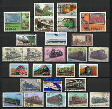 Lot Treinen - Trains   gestempelde postzegels / used stamps