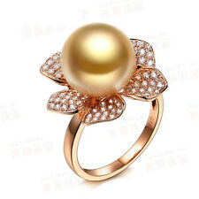 18K Yellow Gold Filled Women Pearl Crystal FlowerRings Men Rings J016