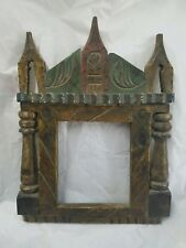 Architectural Salvage - Ethnic Wood Frame w 3 Peaks & Side Columns  UPCYCLE