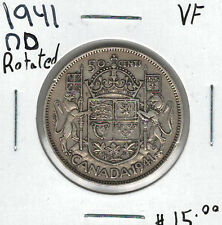 Canada 1941 Silver 50 Cents VF Narrow Date Rotated