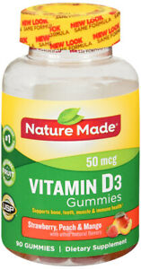 Nature Made Vitamin D 1000 IU Adult Gummies 90 CT Strawberry, Peach and Mango