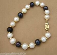"①NEW NATURAL AAA+SOUTH SEA GENUINE WHITE+BLACK PEARL BRACELET 7.5-8"" 14K"