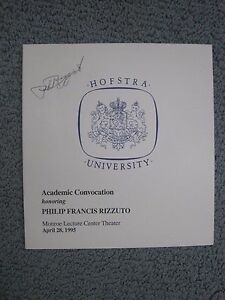 *RARE* PHIL RIZZUTO autographed program Doctorate Convocation NY Yankees auto