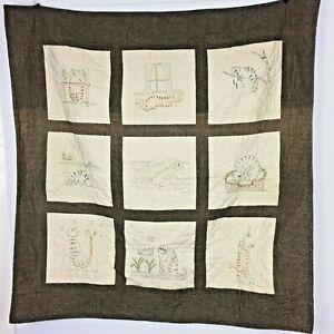 Unbranded 9 Block Quilt Lap Blanket Brown Embroidered Cat Feline Motif Design