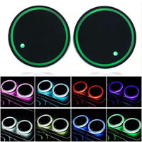 2Pcs Car Interior LED Light Coaster Colorful Auto LOGO Atmosphere Light Mat