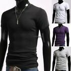 Men Casual V-Neck Slim Fit Cotton Solid Short Sleeve Muscle Tee T-shirt WT88