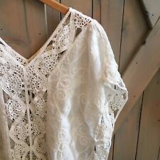 New Anthropologie Women's Crochet Boho Gypsy White Blouse Top Small / Medium