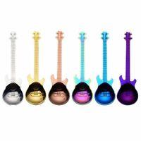 1X(6 Pcs Coffee Teaspoons Guitar Spoon,Stainless Steel Colorful Dessert Spo6K6)