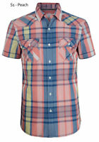 ESPRIT Mens Slim Short Sleeve Check Shirts Casual Cotton Shirt Peach Small S