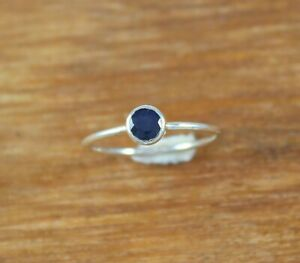 NATURAL BLUE SAPPHIRE 925 STERLING SILVER ROUND CUT RING JEWELRY SIZE US 3 - 13